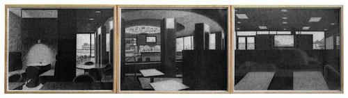 _Karstadt Spiel&Sport Cafeteria, je 30 x 39 cm (3-teilig), Bleistift auf Papier, 2003