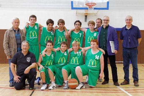 Remise des Maillots Mac Donalds d'Avon à l'équipe U15 le 12/10/2013