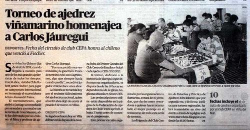 nota del diario El Mercurio de Valparaíso, 25 de mayo 2013.