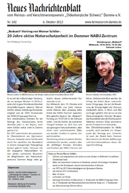 """Nachrichtenblatt Heimat-und Verschönerungsverein """"Oldenburgische Schweiz"""" e. V. vom 06.10.12"""