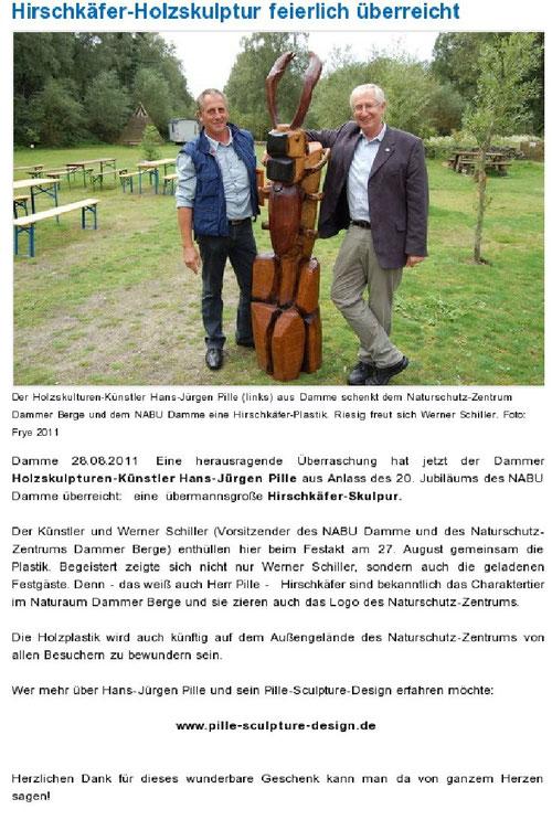 Spende des Holzskulpturen_künstlers Hans Jürgen Pille aus Damme