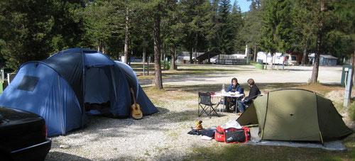 Auf dem Campingplatz. Hier blieben wir die 5 Tage.