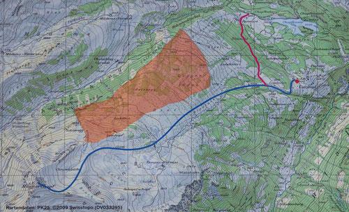 Karte mit Aufstiegsroute und Wildschutzgebiet.