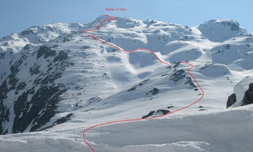 Unsere Aufstiegsspur zur Fibbia (2738m)