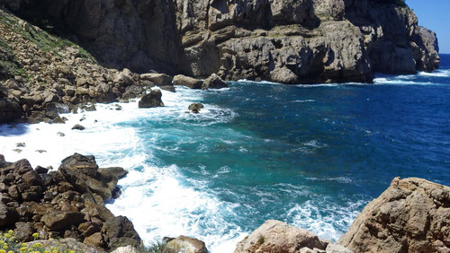 Der Kletterspot befindet sich etwa 10 Meter über dem Meer.