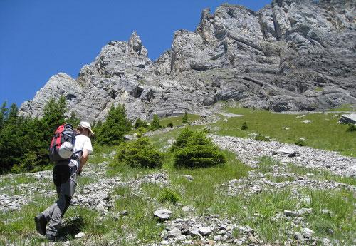 Steile Passage zum Einstieg