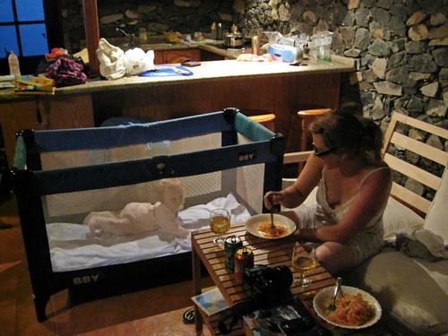 Abendessen im Casa Rural el Drago. Gerne wären wir hier länger geblieben.