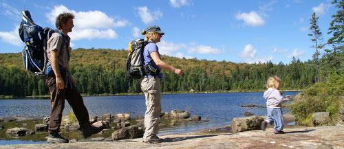 Mit der Familie unterwegs im kanadischen Nationalpark Mont Tremblant (2011).