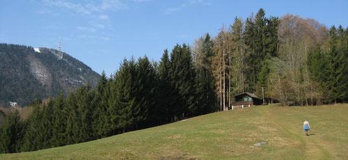 Gemütlicher Aufstieg zum Nockstein. Links der Gaisberg.