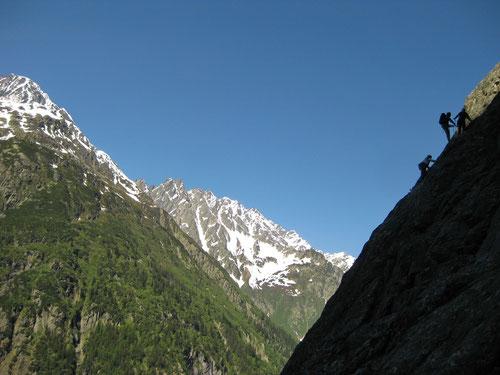 Kletterer unterwegs ander Südkante