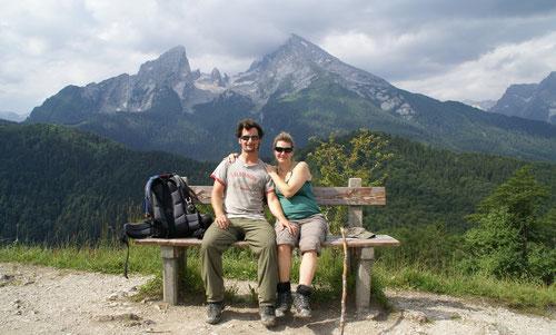 Auf der Grünsteinspitze. Im Hintergrund das Watzmann-Massiv