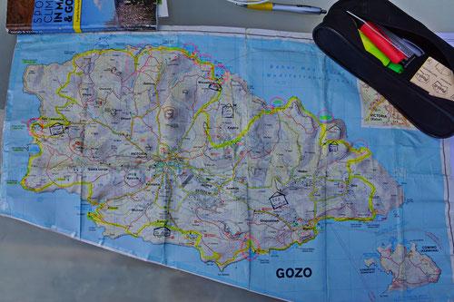 Die Etappen meiner Gozo-Inselumrundung