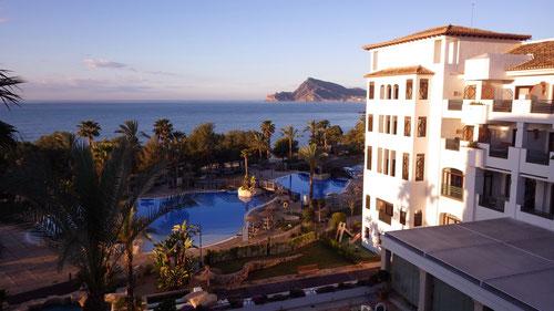 Blick aus unserem Zimmer im Hotel Villa Gadea.
