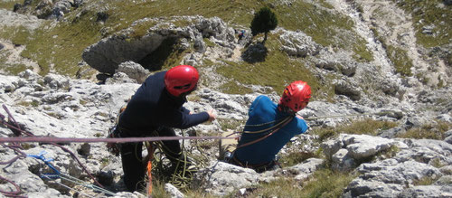 Die erste Route im Dolomitenfels