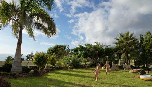 Im Garten unseres Ferienhauses Casa Soluna
