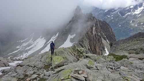 Dominik beim Abstieg über den Ostgrat