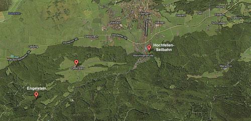 Kartenausschnitt Hochfellengebiet