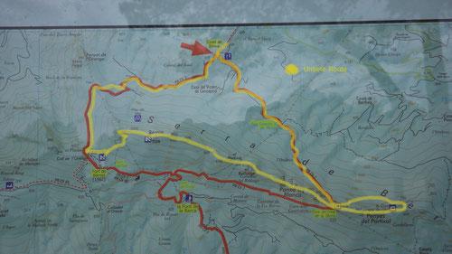 Die gelbe Linie zeigt unsere Route.