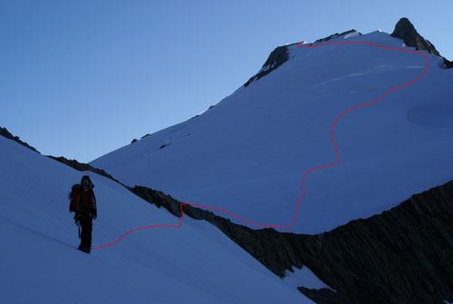 Die Aufstiegsroute zum Sustenhorn