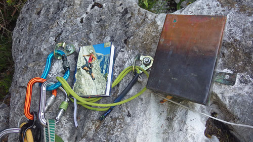 Das Routenbuch beim Ausstieg.