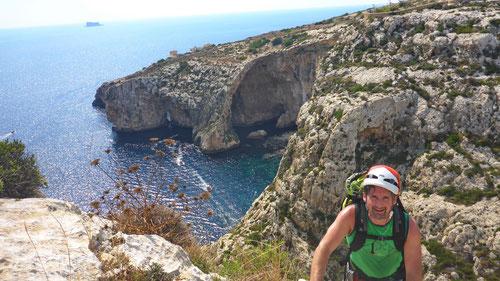 09/2019: MSL-Klettern auf Malta mit Sicht auf Blue Grotto / Il-Hnejja (MLT)