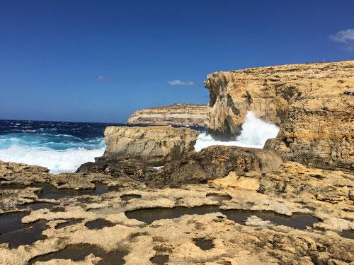 Dwejra Point: Hier stand einmal das bekannte Azure Window von Gozo