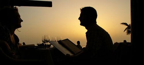 Sonnenuntergang im Restaurant Las Rocas