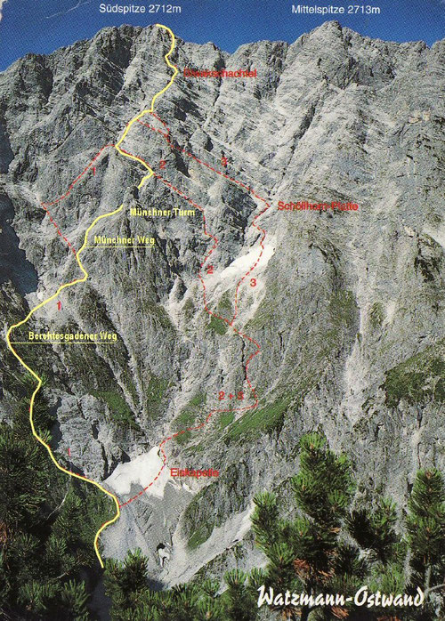 gelb = gegangene Münchner Route