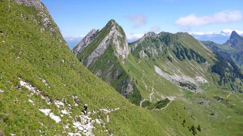 Auf der steilen und ausgesetzten Krete der Nünenenflue ging es runter. Olli im Aufstieg zum Gantrisch.