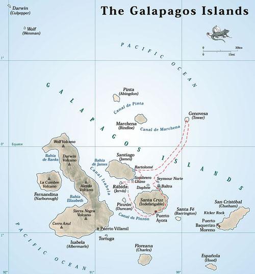 Die Galapagos Inseln. Unsere Route ist gestrichelt eingezeichnet.