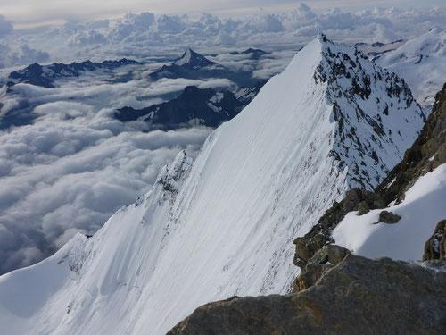 Die beeindruckende Nordwand der Lenzspitze (4'294m)