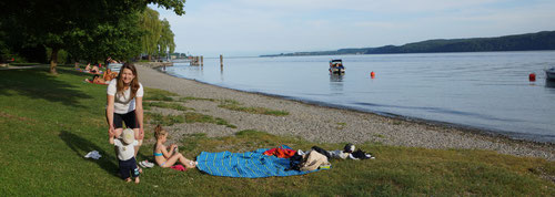 Relaxen am Strand nach der anstrengenden Tagesetappe.