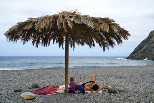 Entspannen am Meer. Der ganze Strand gehört uns.