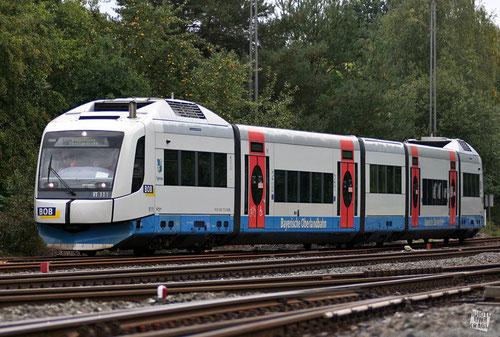 VT111 der Bayerischen Oberlandbahn im Bahnhof Neuenmarkt-Wirsberg