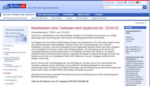 23.09.2015, Berliner Verwaltungsgericht entscheidet: Nacktkatzen ohne Tasthaare sind Qualzucht