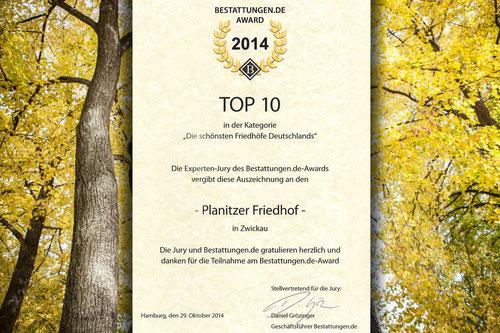 """Foto: Friedhof Planitz   - Urkunde Award 2014, Kategorie: """"Die schönsten Friedhöfe Deutschlands"""""""