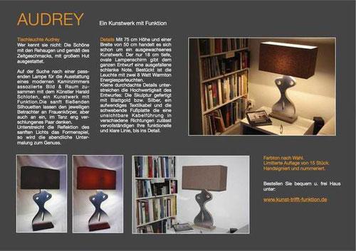 Die Tischleuchte Audrey von der Kunstagentur Bild und Raum