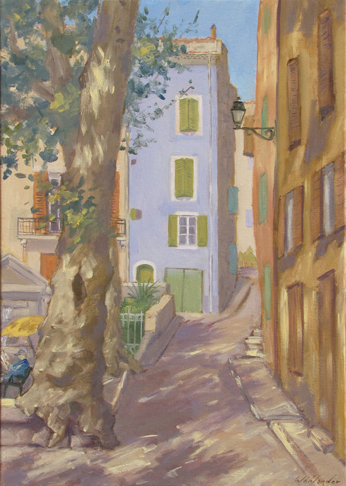 Tony Wahlander (Wåhlander) Paysage de Provence, Tableau, platane dans le village de Barjols