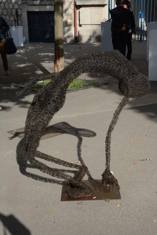 En plein coeur, fil de fer et der à béton, 150 cm X 75 cm, 2014
