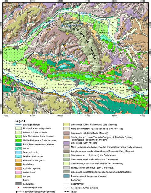 Mapa geomorfológico realizado por investigadores del CENIEH. / Benito-Calvo et al