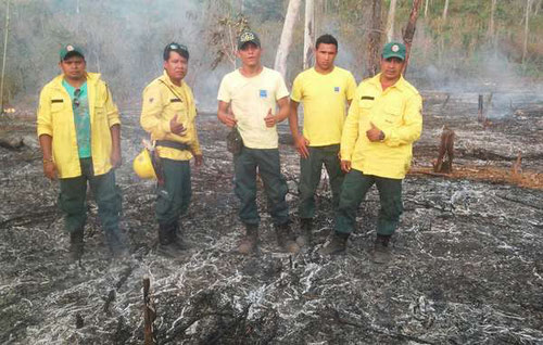 Bomberos indígenas en el Territorio Indígena de Arariboià, en Brasil. /Guajajara