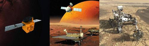 Sonda Hope emiratí, misión china Tiawen-1 (con orbitador, 'aterrizador' y rover) y el Perseverance estadounidense. / MBRSC/ W. X. Wan et al.-Nature Astronomy/ NASA/JPL-Caltech