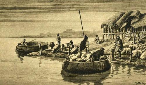Las 'coracles' eran una especie de taxis fluviales que recorrían el Tigris y el Éufrates. Su forma pudo inspirar el diseño del superarca redonda. / © Irving Finkel