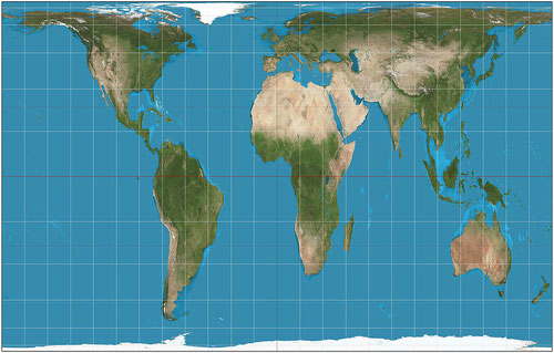 En la proyección de Peters muestra el tamaño real de la superficie terrestre.  Imagen ©: Wikipedia.org