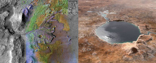 Imagen real de un antiguo delta del cráter Jezero captado por el Mars Reconnaissance Orbiter de la NASA y recreación del lago que pudo cubrir este cráter hace miles de millones de años, con entrada y salida de agua. / NASA/JPL-Caltech/ASU