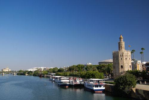 Los cruceros por el Guadaquivir inactivos por la falta de turistas. Foto: M. Belenguer
