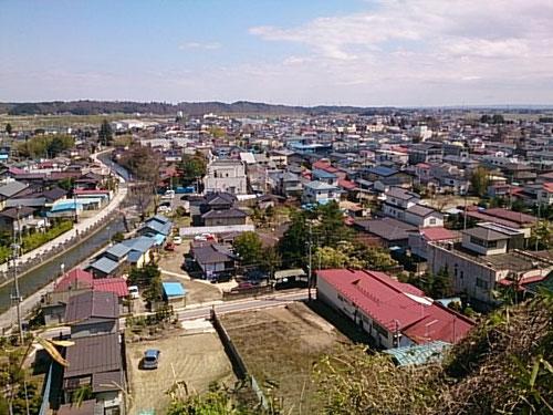 城山公園からの眺め(大崎市岩出山の街並み)