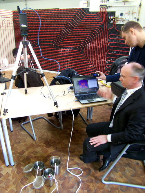 Infrarot Video Meßtechnik vom Feinsten mit Rainer Tölbe CalPlus GmbH 3.12.2012. Aufheizverhalten und Abkühlverhalten von LMP R1, R3, Wasser im Direktvergleich