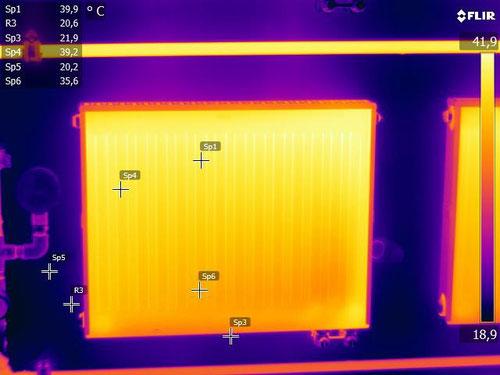 Verteilung der Wärme bei LMP R1 innerhalb des Heizkörpers. Zukünftig werden kleiner Heizkörper benötigt!