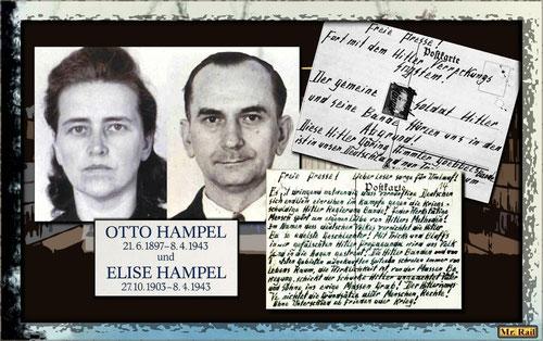 Die Polizeifotos von Otto und Elise Hampel und Postkarten